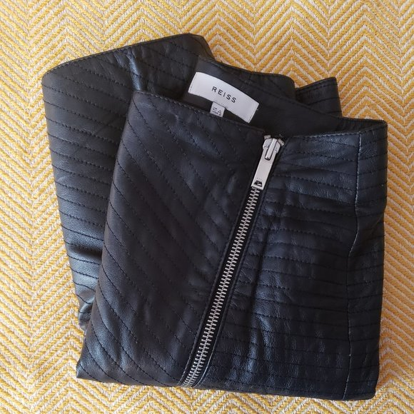 Reiss Azure Quilted Leather Zip-Up Pencil Skirt
